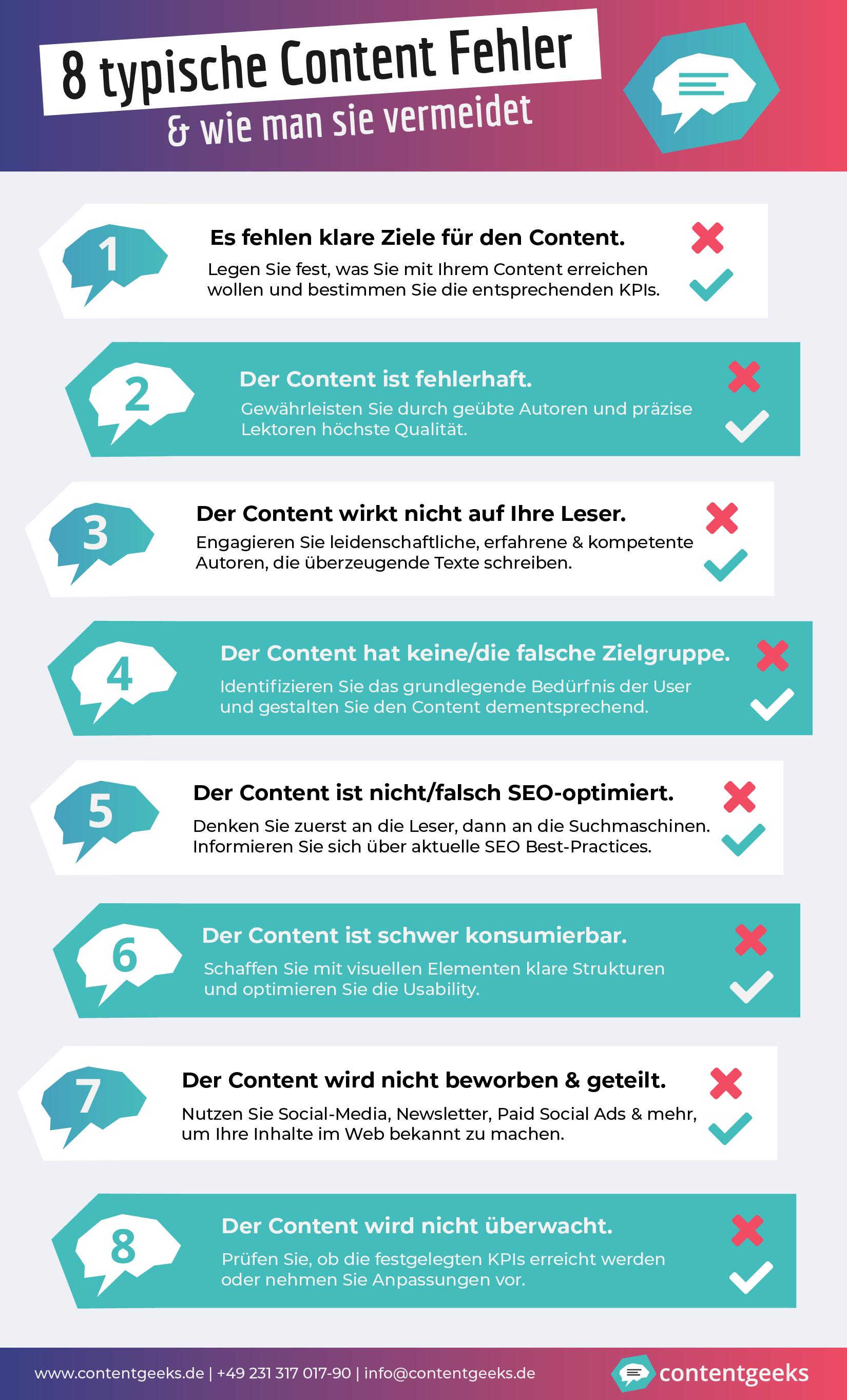 Die 8 häufigsten Content-Fehler als Infografik